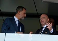 Prezydent Gianni Infantino Felipe i królewiątko VI Hiszpania przed FIFA puchar świata 2018 Round 16 zapałczany Hiszpania vs Rosja obraz stock