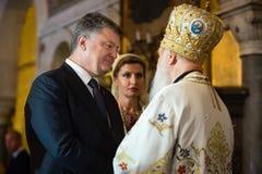 Prezydent Ukraina Petro Poroshenko i Filaret Zdjęcia Royalty Free