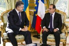 Prezydent Ukraina Petro Poroshenko i Francuski prezydent Fotografia Royalty Free