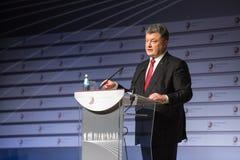 Prezydent Ukraina Petro Poroshenko mówi przy szczytem Fotografia Stock