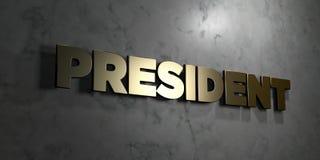 Prezydent - złoto znak wspinający się na glansowanej marmur ścianie - 3D odpłacająca się królewskości bezpłatna akcyjna ilustracj Fotografia Royalty Free