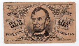 Prezydenta Abraham Lincoln rocznika Stara reklama zdjęcie stock