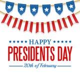 Prezydenta dnia tło USA patriotyczny szablon z tekstem, paskuje i gra główna rolę Wektorowa kolorowa chorągiewki dekoracja royalty ilustracja