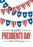 Prezydenta dnia tło USA patriotyczny szablon z tekstem, paskuje i gra główna rolę Wektorowa kolorowa chorągiewki dekoracja ilustracji