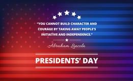 Prezydenta dnia tło z Abraham Lincoln inspiracyjną wycena Fotografia Royalty Free