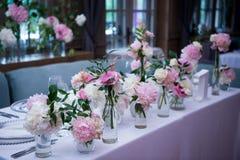 Prezydium, poślubiający stół dla pary lub dwa salowy Formalny, małżeństwo obraz stock