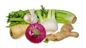 Prezzemolo, finocchio, cipolla, aglio, sedano, zenzero Fotografie Stock
