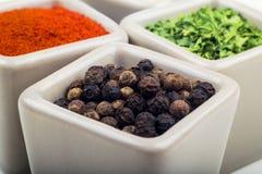 Prezzemolo, polvere del peperone e pepe schiacciato in tazze ceramiche Fotografia Stock