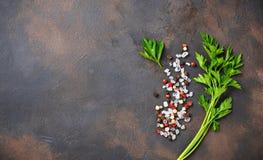 Prezzemolo, sale e pepe Priorità bassa culinaria immagine stock libera da diritti