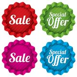 Prezzi da pagare di offerta speciale e di vendita messi. Vettore. Immagine Stock Libera da Diritti