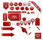 Prezzi da pagare rossi, etichette, autoadesivi, vettore Fotografia Stock Libera da Diritti