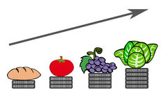Prezzi degli'alimenti aumentanti Immagine Stock Libera da Diritti