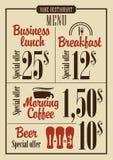 Prezzi del menu royalty illustrazione gratis