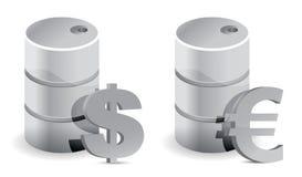 Prezzi del petrolio dell'euro e del dollaro Fotografia Stock Libera da Diritti