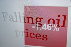 Prezzi del petrolio di caduta Fotografia Stock