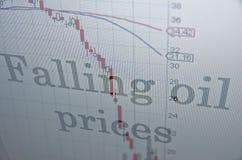 Prezzi del petrolio di caduta Fotografie Stock
