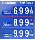 Prezzi della benzina Fotografia Stock