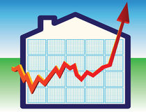 Prezzi della casa sull'alto illustrazione di stock