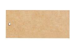 Prezzo in bianco della carta marrone isolato su fondo bianco Fotografie Stock