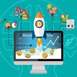 Prezzo cripto elettronico Rocket Boost di valuta di Bitcoin sull'aumento Fotografie Stock