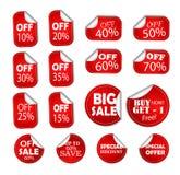 Prezzo da pagare dell'insegna degli speciali di sconto di vendita, autoadesivo mezzo fuori, icona del buono delle percentuali di  illustrazione di stock