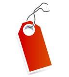 Prezzo da pagare della scheda rossa su priorità bassa bianca Fotografia Stock