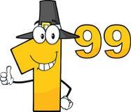 Prezzo da pagare numero 1,99 con il personaggio dei cartoni animati del cappello del pellegrino che dà un pollice su Fotografia Stock Libera da Diritti
