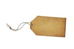 Prezzo da pagare o etichetta di carta d'annata in bianco isolata su bianco Immagini Stock