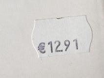 Prezzo da pagare sopra fondo bianco Fotografia Stock