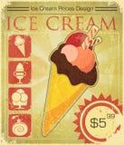 Prezzo del gelato di disegno nello stile del grunge Fotografia Stock