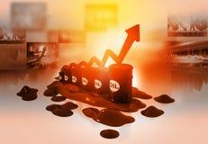 Prezzo del petrolio aumentante Immagini Stock