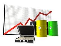 Prezzo del petrolio e curva Fotografie Stock Libere da Diritti