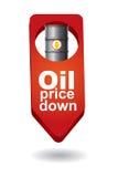 Prezzo del petrolio greggio giù Fotografie Stock Libere da Diritti