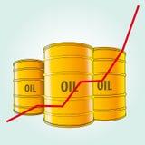 Prezzo di aumentare dell'olio Immagini Stock