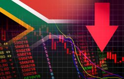 Prezzo di mercato rosso di crisi del mercato di borsa valori del Sudafrica giù l'affare di caduta del grafico e calo negativo ros royalty illustrazione gratis