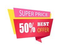 Prezzo eccellente 50 fuori dalla migliore etichetta di offerta con informazioni illustrazione di stock