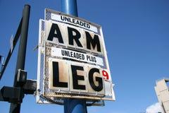 Prezzo elevato, braccio e piedino del gas Immagini Stock