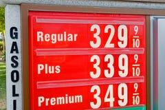 Prezzo elevato di benzina Immagine Stock