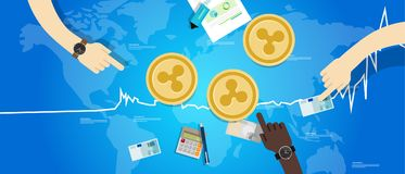 Prezzo virtuale digitale di valore di scambio di aumento della moneta dell'ondulazione sul blu del grafico illustrazione vettoriale