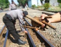 Prüfung von Eisenbahnen Lizenzfreie Stockfotos