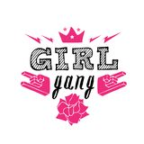 PrGirl Gang - fashion badge. Rose with crown for rock girl gang. Girl Gang - fashion badge. Rose with crown for rock girl gang. Vector design element, sticker Royalty Free Stock Images