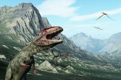 Prähistorische Gebirgsszene mit Dinosauriern Lizenzfreies Stockfoto
