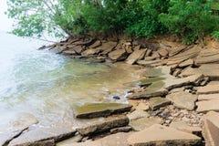 Prähistorisches versteinertes Oberteilufer Stockfotos