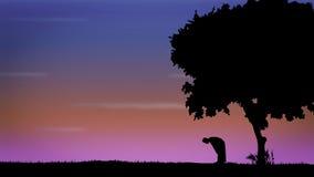 Prière d'homme de silhouette Photo stock