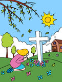 prière de cimetière illustration de vecteur