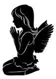 Prière mignonne d'ange de petite fille de silhouette illustration de vecteur