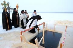 Prière publique des vacances orthodoxes de l'épiphanie Image libre de droits