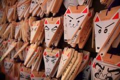 Prières en bois de Fox-visage japonais Photo libre de droits
