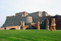 Priamar Fortress. The Priamar Fortress (Italian: Fortezza del Priamar) is a fortress occupying the hill with the same name above the port of Savona, Liguria stock photo