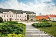 Pribina Square, Nitra, Slovakia. Urban Park with Statue of Knight Pribina on Pribina Square, Nitra, Slovakia stock images